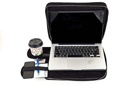 TaboLap Laptop Bag and Lap Desk in One - 2 Built-In Trays with Cup Holder, Mouse Pad, Light Gadgets Storage, Full-Function Portable Lap Desk 13 inches, Black Suede Leather