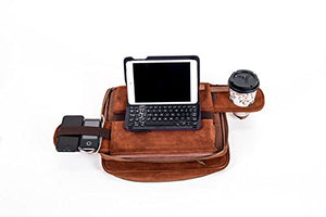 TaboLap Laptop Lap Desk Computer Bag - 2 Built into 1 with Mouse Pad, Cup Holder, Light Storage, 2 Adjustable Trays, Portable LapDesk for Adults and Kids 13 inch, ALL Brown Genuine Suede Leather