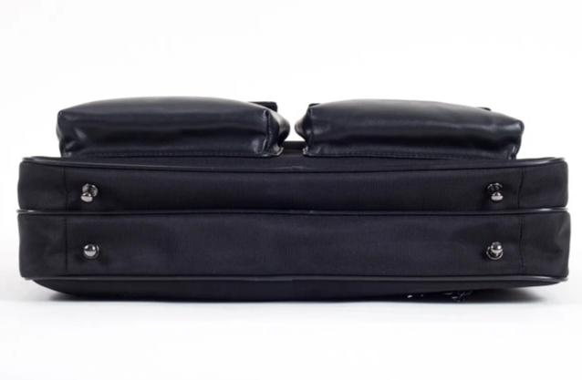 TaboLap Briefcase Black Leather and Black Nylon for Laptop Up to 16 Inches
