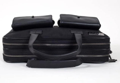 Image of TaboLap Briefcase Black Leather and Black Nylon for Laptop Up to 16 Inches
