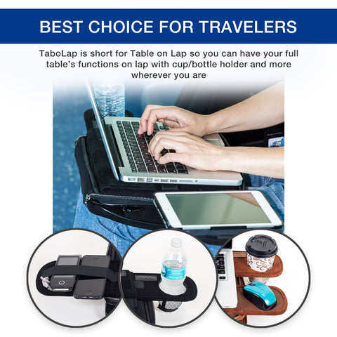 TaboLap Laptop Lap Desk Computer Bag - 2 Built into 1 with Mouse Pad, Cup Holder, Light Storage, 2 Adjustable Trays, Portable Lap Desk for Adults and Kids 13 inch, ALL Black Suede Leather