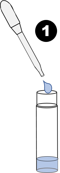 Step 1 - Insert six drops of water into Test Vial using Transfer Pipette.