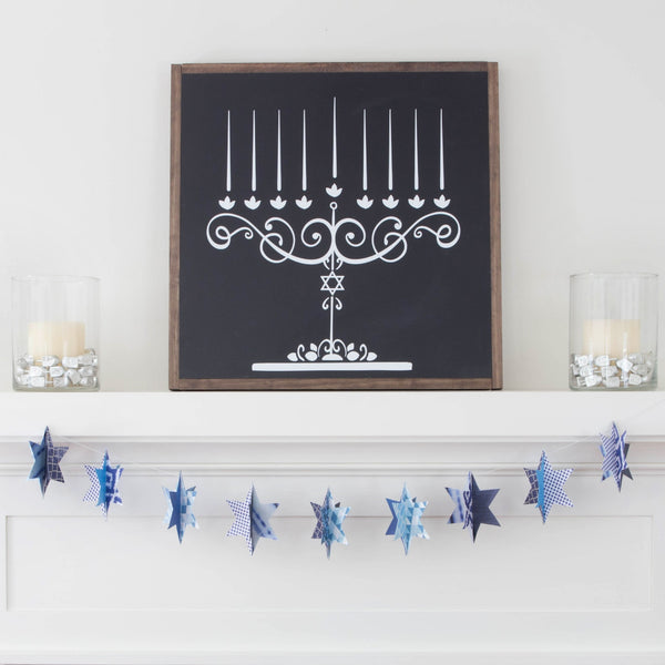 Hanukkah Chalkboard Menorah- Peace Love Light