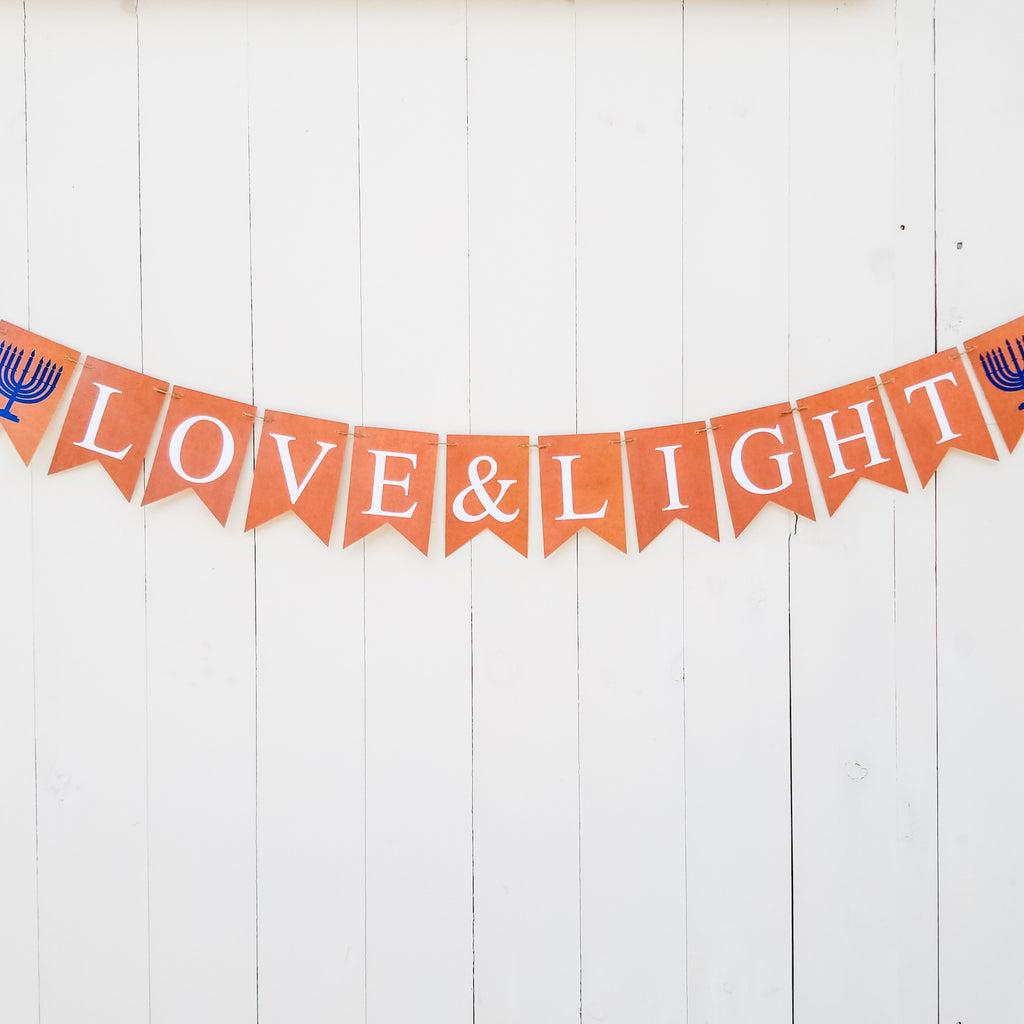 Hanukkah decorations, Banner- Peace Love Light Shop