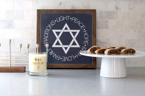 Star of David wall decor, Hanukkah art