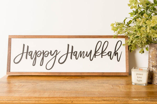 Happy Hanukkah wood sign