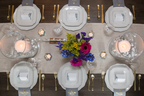 Hanukkah table setting - www.peacelovelightshop.com
