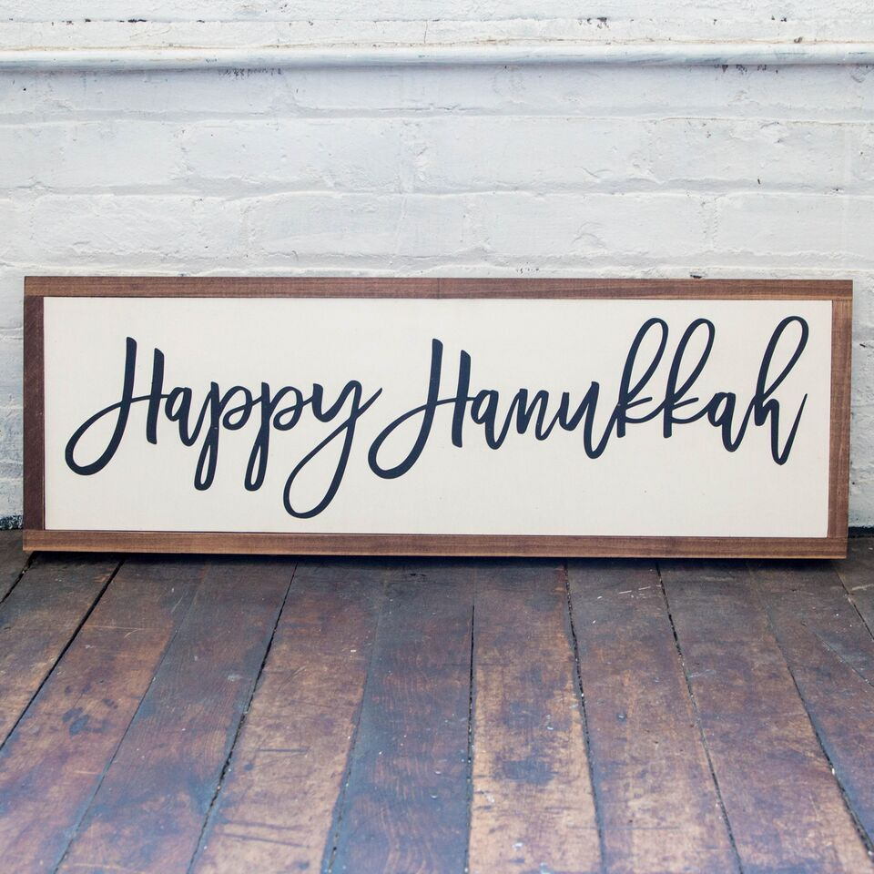 """Happy Hanukkah"" Framed Wood Sign, Hanukkah Decoration - Peace Love Light Shop"