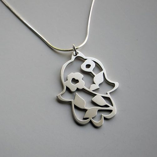 Sterling Silver Blooming Hamsa Pendant Necklace - Peace Love Light Shop