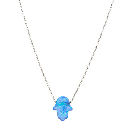Blue Opal Hamsa Necklace - Peace Love Light Shop
