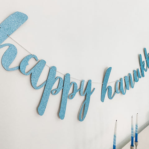 Happy Hanukkah Glitter Banner, in Blue or Gold- Hanukkah Decoration