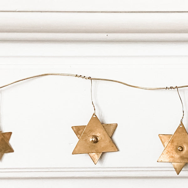 Modern Gold Star of David Garland, Jewish Holiday Decoration - Peace Love Light Shop