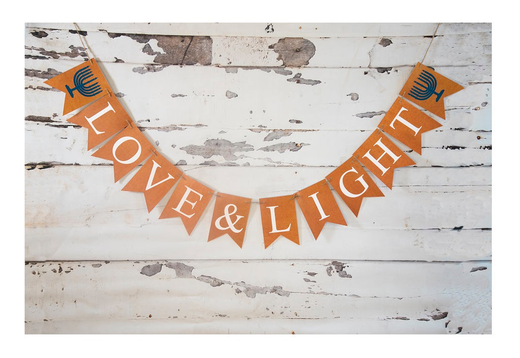 Love & Light Hanukkah Banner - Peace Love Light Shop