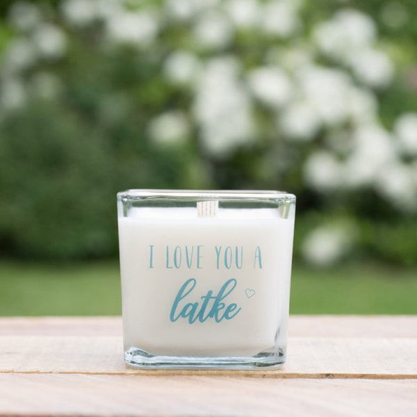 I Love You a Latke Soy Candle, Hanukkah Decoration, Chanukah Gift - Peace Love Light Shop