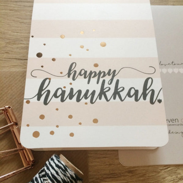 Happy Hanukkah- Gold Dots Card - Peace Love Light Shop