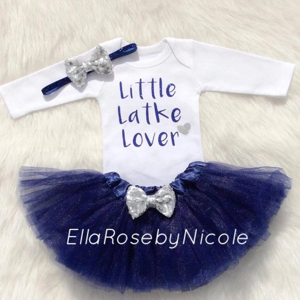 Little Latke Lover Outfit- Blue, Jewish Baby Gift, Hanukkah Gift - Peace Love Light Shop