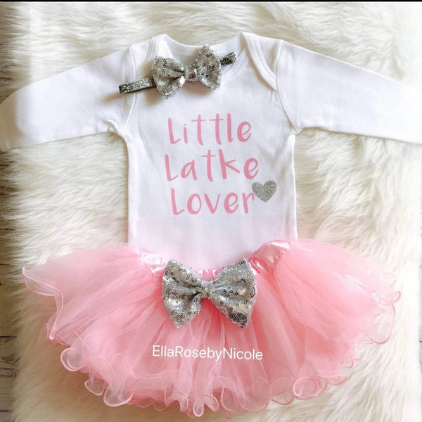 Little Latke Lover Outfit- Pink, Jewish Baby Gift, Hanukkah Gift - Peace Love Light Shop