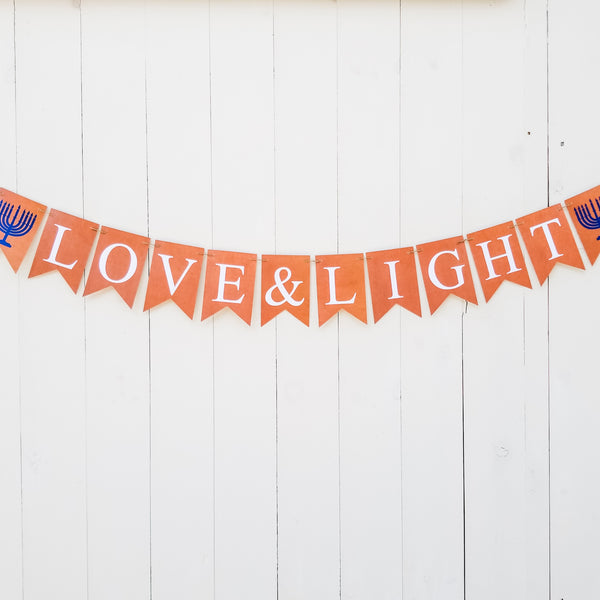Hanukkah Decoration, Love & Light Banner - Peace Love Light Shop