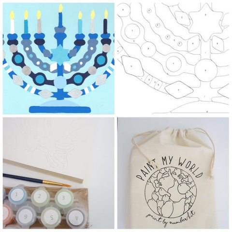 Hanukkah Menorah- Paint by Number Kit, Hanukkah Craft - Peace Love Light Shop