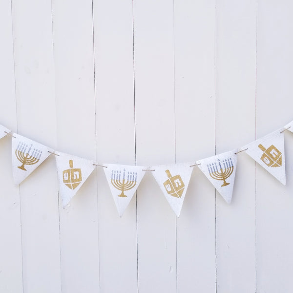 Stylish Hanukkah decorations, dreidel and menorah banner- Peace Love Light Shop
