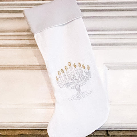 Hanukkah Stocking- Ivory and Grey Linen - Peace Love Light Shop