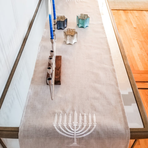 Hanukkah linen runner, Chanukah decoration- Peace Love Light Shop