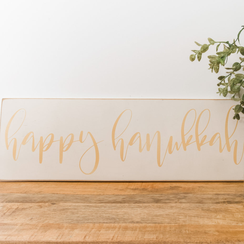 Happy Hanukkah in Gold Wood Sign, Hanukkah Decoration - Peace Love Light Shop
