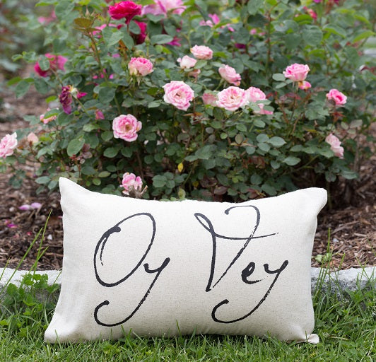 Oy Vey Pillow, Hanukkah Decorations, Funny Jewish Gift - Peace Love Light Shop