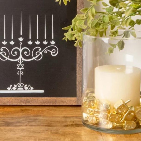 Hanukkah decorations- Chalkboard menorah and dreidel filler- Peace Love Light Shop