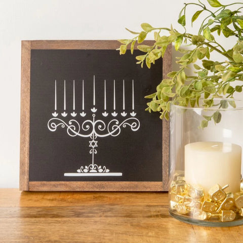 Draw the Lights Chalkboard Menorah, Wood Sign, Hanukkah Decoration, Craft - Peace Love Light Shop