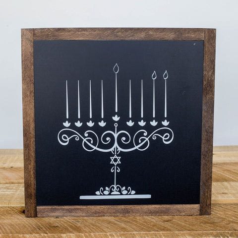 Draw the Lights Chalkboard Menorah Sign - Peace Love Light Shop