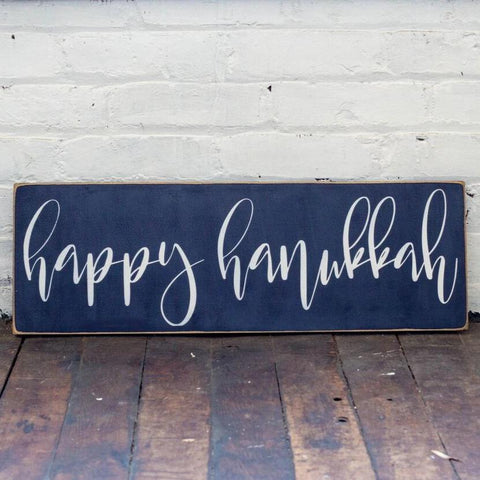 Happy Hanukkah in Navy Wood Sign - Peace Love Light Shop