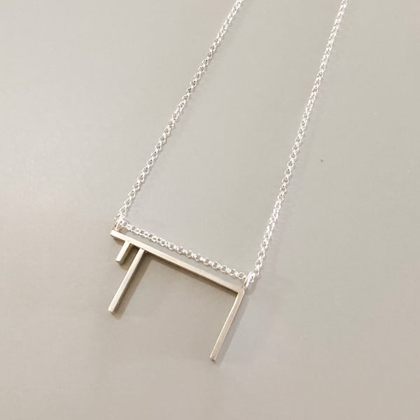 Modern Sterling Silver Chai Necklace, Jewish Jewelry - Peace Love Light Shop