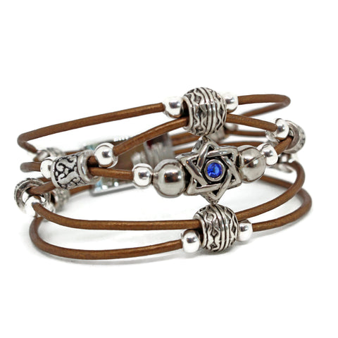 Star of David Leather Bracelet- Peace Love Light Shop