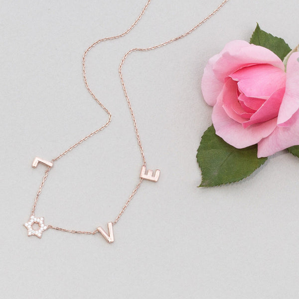 Jewish Star Love Necklace- Sterling Silver, 14K Yellow Gold or Rose Gold - Peace Love Light Shop