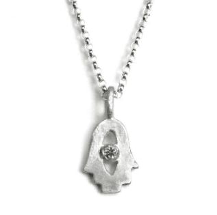 Sterling Silver Tiny Hamsa Necklace- Choose Your Gemstone