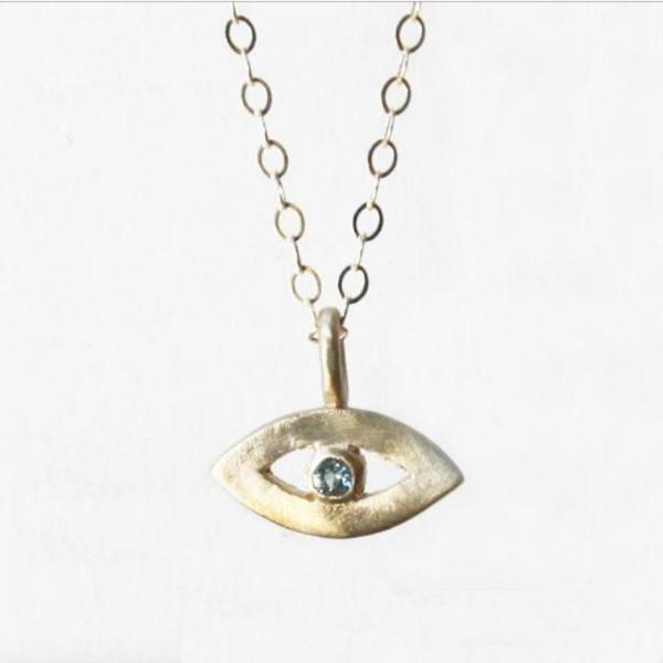 14K Gold Tiny Eye Necklace- Choose Your Gemstone - Peace Love Light Shop