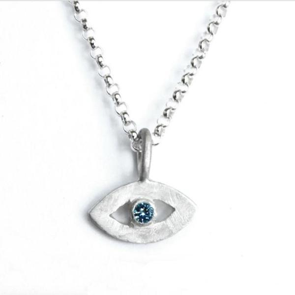 Sterling Silver Tiny Eye Necklace- Choose Your Gemstone - Peace Love Light Shop
