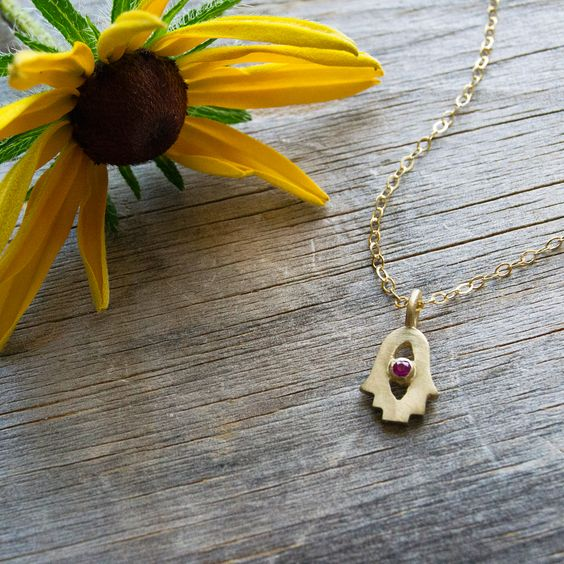 14K Gold Tiny Hamsa Necklace- Choose Your Gemstone - Peace Love Light Shop