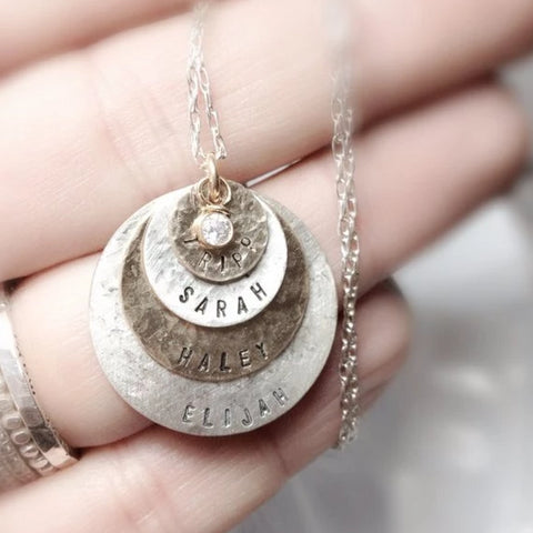 Custom Stamped Necklace (In English or Hebrew)- Sterling Silver, Gold Filled - Peace Love Light Shop