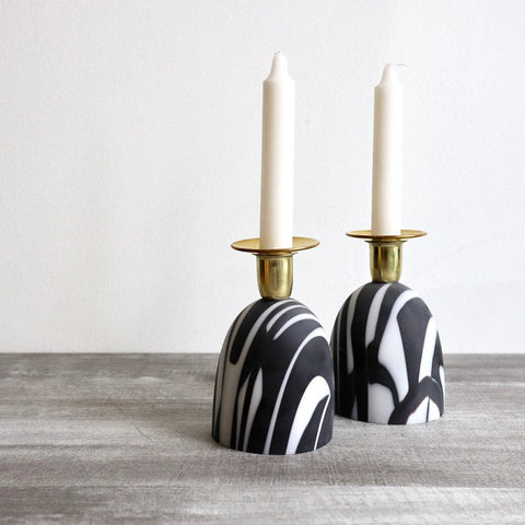 Black and White Glass Candlesticks - Peace Love Light Shop
