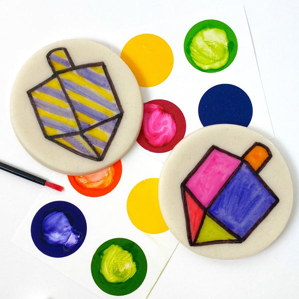 Hanukkah Marzipan Paint Your Own Dreidel Cookies, Hanukkah Craft, Kosher