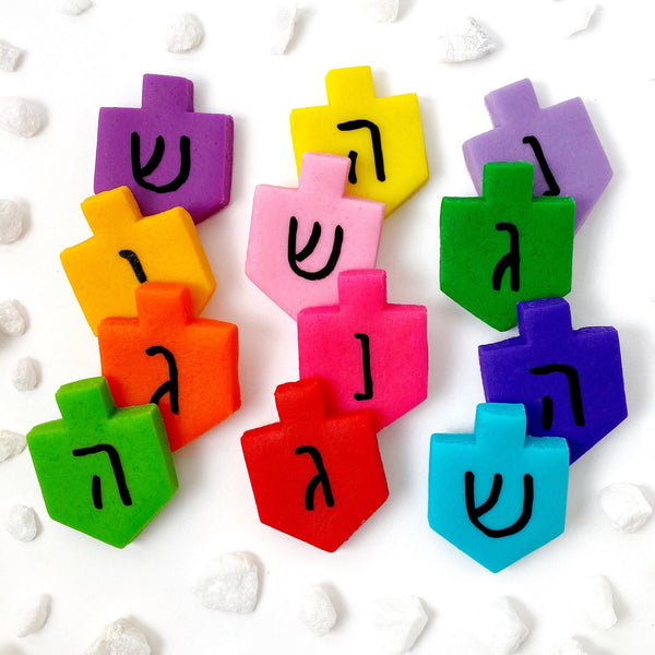 Hanukkah Marzipan Colorful Dreidel Tiles- Peace Love Light Shop