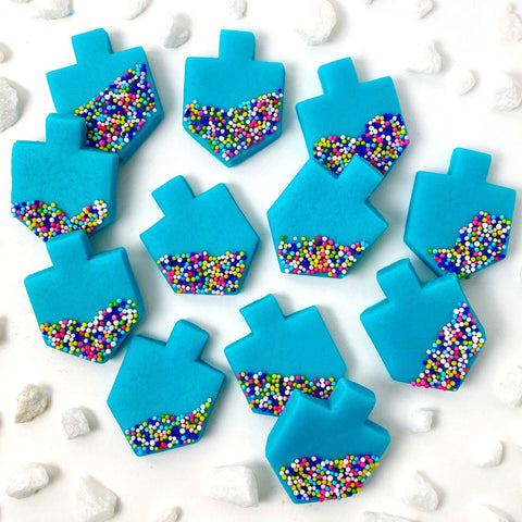 Hanukkah Marzipan Blue Sprinkle Dreidel Tiles- Peace Love Light Shop