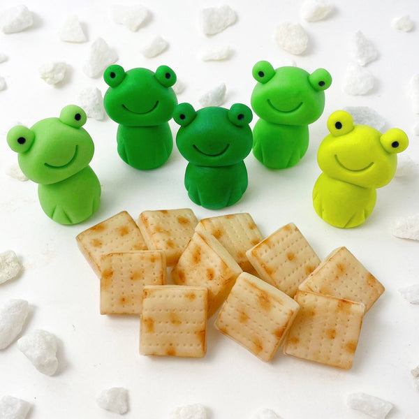 Passover Gift- Marzipan Frogs and Mini Matzoh Tiles
