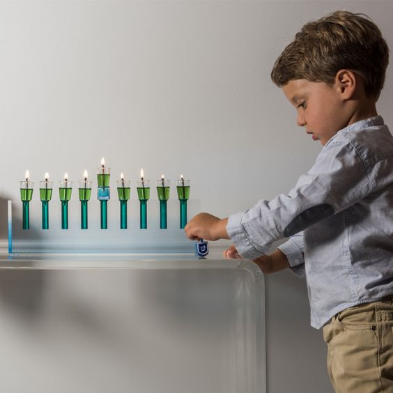 Modern acrylic menorah- Peace Love Light Shop