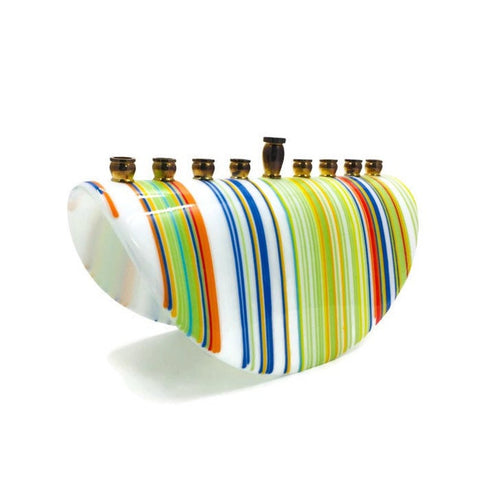 Modern Glass White Stripe Menorah - Peace Love Light Shop