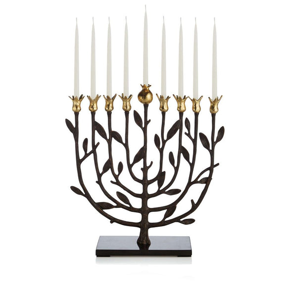 Michael Aram Pomegranate Kosher Menorah- Beautiful addition to your Hanukkah celebration.  Peace Love Light Shop