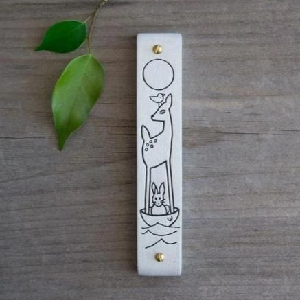 Line-Drawn Children's Woodland Mezuzah - Peace Love Light Shop