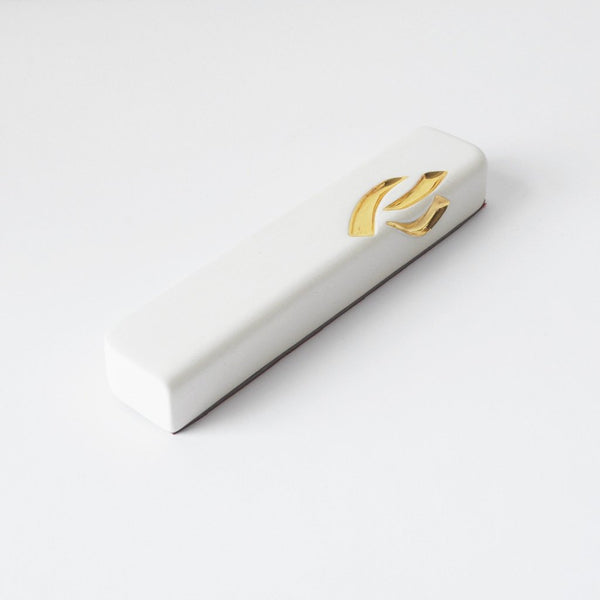 Creamy White Ceramic Mezuzah Case with 24K Gold - Peace Love Light Shop